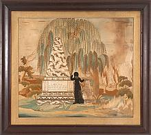 FRAMED NEEDLEWORK MEMORIAL Depicts a woman standing at two memorials with inscriptions