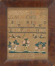 FRAMED NEEDLEWORK SAMPLER By Mary Burleigh Mills, age 8 years. Dated August 17, 1800. With alphabet, numerals and flowers. 12.25