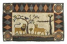 CONTEMPORARY HOOKED RUG By Peggy Teich. Depicts a lion and lioness standing by a tree. 22