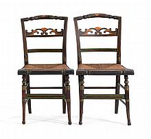 PAIR OF ANTIQUE AMERICAN LATE SHERATON PILLOW-BACK CHAIRS With unusually carved backsplats and rush seats.