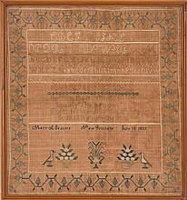 FRAMED ANTIQUE AMERICAN NEEDLEWORK SAMPLER Wrought by Mary A. Seacord of New Rochelle, New York, July 18, 1839. Alphabets and numera...