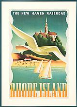 FRAMED TRAVEL POSTER FOR THE NEW HAVEN RAILROAD COMPANY