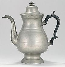 TALL PEWTER COFFEEPOT By Freeman Porter of Westbrook, Maine. Marked #1. Height 11.8