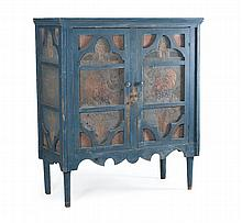 SPECTACULAR AMERICAN FOLK ART PIE SAFE Painted blue. Polychrome pierced tin panels inset at sides and front doors. Fan-form decorati...