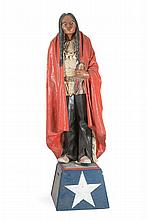 AMERICAN FOLK PAPIER-MÂCHÉ CIGAR STORE INDIAN FIGURE Male figure with long black hair. Wearing a red blanket over his shoulders, a w...