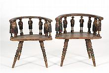 PAIR OF UNIQUE MORAVIAN CARVED AND PAINTED WOODEN WEDDING CHAIRS Groom's chair with crest rail and arms supported by eight polychrom..