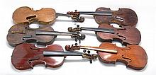 SIX AMERICAN FOLK FIDDLES Made from varied woods. Several signed. All in need of restoration. Lengths approx. 24