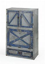 VINTAGE GALVANIZED METAL CABINET Two-door cupboard over a drop-front compartment over a single drawer. Door and drawer frames painte...