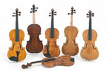COLLECTION OF SIX AMERICAN FOLK FIDDLES Made by Dr. Harry S. Braman of Homer, New York. Each body made from varied woods with a step...