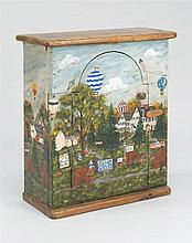 DIMINUTIVE ONE-DOOR CABINET With painted decoration attributed to Phipps & Wynne of Dennis, Masschusetts. Decoration pertains to the...