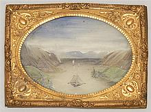FRAMED MINIATURE PAINTING ON BONE Depicts sailboats on the Hudson River. 3