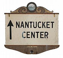 PAINTED WOODEN DIRECTIONAL SIGN FROM NANTUCKET Featuring the town seal on both sides. One side with arrows pointing to