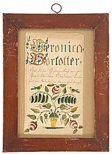 FRAMED PAINTED FRAKTUR Dedicated to Veronica Borlolter. Depicts birds and flowers. 7