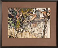 SAUL RASKIN, American/Ukrainian/Israeli, 1878-1966, Rendering of a house and figures., Colored inks on paper, 9