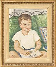 WALDO PIERCE, American, 1884-1970, Portrait of a young boy painting., Oil on canvas, 14