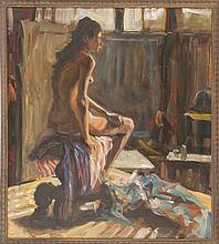JOHN HUBBARD, American, b. 1931, Seated nude., Oil on canvas, 30