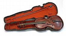CASED AMERICAN FOLK FIDDLE Made from varied woods. Length 23.5