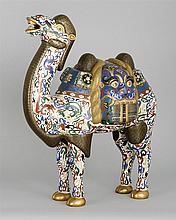 CLOISONNÉ ENAMEL CAMEL In standing position with mask-design saddle. Height 18.5