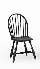 ANTIQUE AMERICAN BOWBACK WINDSOR SIDE CHAIR Under brown paint. Turned legs.