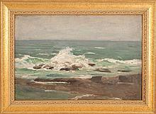 GEORGE WILLOUGHBY MAYNARD, American, 1843-1923, Rocky coastal scene., Oil on board, 15