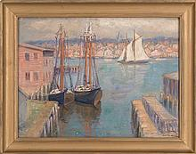 JULIET HOWSON BURDOIN, Canadian/American, 1873-, New England harbor view with three sailing vessels., Oil, 17.5