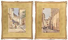 WILLIAM BRYMNER, Canadian, 1857-1925, Pair of street scenes, Martigues, France., Watercolors on paper, 14