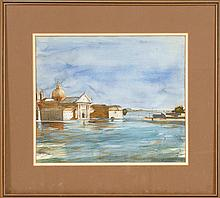 JULIO F. LARRAZ, Cuban/American, b. 1944, View of a temple by a harbor., Watercolor on paper, 12