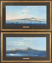 ITALIAN SCHOOL, 19th Century, Pair of exceptional Neapolitan gouaches:, Gouaches on paper, 15.25