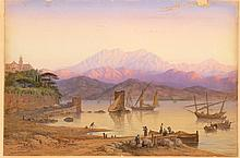 CHARLES VACHER, British, 1818-1883, Sunlit mountain landscape, possibly Italy., Watercolor on paper, 20.5