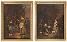 AFTER GABRIEL METSU, Continental, 19th Century, Pair of paintings after Metsu's