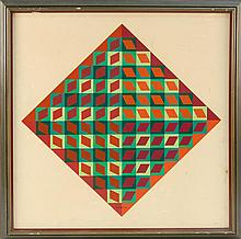 VICTOR VASARELY, Hungarian/French, 1906-1997, Op art in diamond shapes in shades of red and green., Acrylic on masonite, 20.5