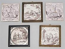 FIVE MULBERRY DELFT CERAMIC TILES Varied scenes set within a circle. Floral decoration at each corner. Three framed. Tiles 5