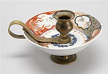 UNUSUAL IMARI PORCELAIN AND BRASS CHAMBER STICK With phoenix design. Length 7.5