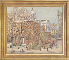 PARKER NEWTON, American, d. 1928, A view of the Old State House, New Haven, Connecticut., Oil on canvas, 25