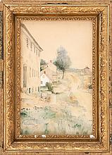 MARY LORING WARNER, American, 1860-1950, Rural townscape., Watercolor on paper, 14
