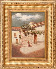 AMERICAN SCHOOL, 19th Century, Flower-filled courtyard, possibly Bermuda., Oil on canvas, 13
