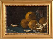 AMERICAN SCHOOL, Early 20th Century, Still life of oranges., Oil on board, 9