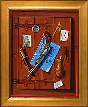 JEROME HOWES, American, b. 1955, Trompe l'oeil depicting a pistol, Texas Ranger badge and the ace of diamonds., Oil on masonite, 28