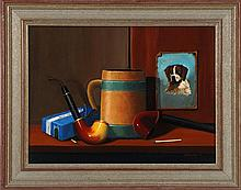 JEROME HOWES, American, b. 1955, Still life of a pipe, stein and picture of a dog., Oil on masonite, 12