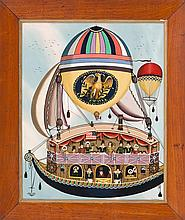 RALPH EUGENE CAHOON, JR., American, 1910-1982, A sailing theatre., Oil on masonite, 26