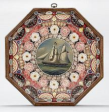 RALPH EUGENE CAHOON, JR., American, 1910-1982, Sailor's shellwork valentine with inset circular painting of an American ship., Diame..