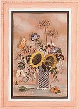 MARTHA FARHAM CAHOON, American, 1905-1999, Still life of flowers., Oil on masonite, 16