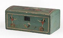 RALPH EUGENE CAHOON, JR., American, 1910-1982, Mid-19th Century dome-top trunk decorated with a circus motif., Height 11