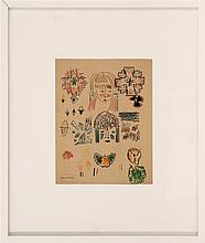 KARL KNATHS, American, 1891-1971, Abstract study of faces, fruit and geometric designs., Mixed media on paper, 13