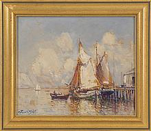 ARTHUR VIDAL DIEHL, American, 1870-1929, Boats at a pier., Oil on board, 10