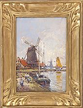 ARTHUR VIDAL DIEHL, American, 1870-1929, Dutch scene with windmills., Oil on board, 8.5