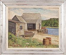 HAROLD C. DUNBAR, American, 1882-1953, Oyster River fishing shacks, Chatham, Massachusetts., Oil on board, 16