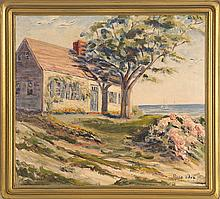 ROSA SILVA, American, 20th Century, A cottage by the sea., Oil on canvas, 18