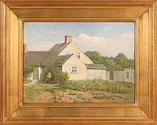 CHARLES DREW CAHOON, American, 1861-1951, Cape Cod home., Oil on board, 12