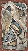 VERNON B. SMITH, American, 1894-1969, Abstract wood carving with bird and foliate design., 34